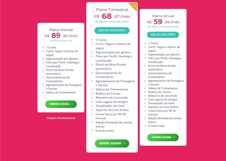 Quanto Custa o Gerenciagram (preços atualizados em 14/09/18)