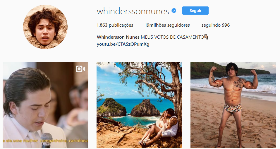Whindersson Nunes em suas redes sociais, um dos maiores influenciadores digitais